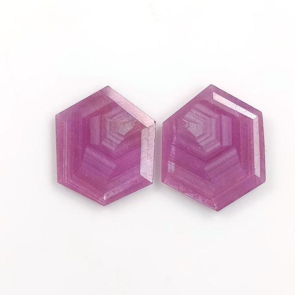 Raspberry Sheen PINK SAPPHIRE Gemstone Cut September Birthstone : 14.80cts Natural Untreated Sapphire Hexagon Shape Normal Cut 18*15mm Pair For Jewelry