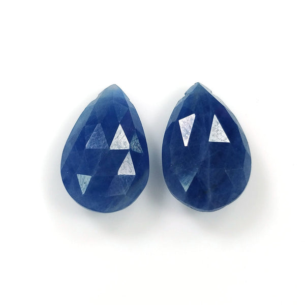 BLUE SAPPHIRE Gemstone Cut : 10.70cts Natural Untreated Sapphire Side To Side Drill Checker Cut Briolette Pear Shape 14*9mm Pair For Earring