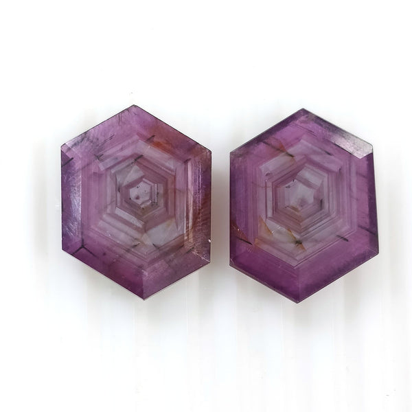 Raspberry Sheen PINK SAPPHIRE Gemstone Cut September Birthstone : 30.90cts Natural Untreated Sapphire Hexagon Shape Normal Cut 21*16mm Pair For Jewelry
