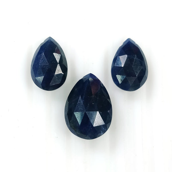 BLUE SAPPHIRE Gemstone Cut : 32.40ct Natural Untreated Sapphire Side To Side Drilled Checker Cut Briolette Pear Shape 15*10mm - 18*13mm 3pcs