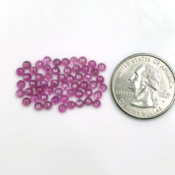 Rosemary Sheen PINK SAPPHIRE Gemstone Cabochon : 12.25cts Natural Untreated Sapphire Round Shape Cabochon 3mm 55pcs Lot For Jewelry