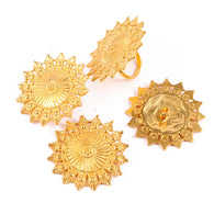 Brass  Handmade Jewelry Set Gold Plated Pendent ,Ring, Earring Flower Look Indian Style Special For Women Gifts Her