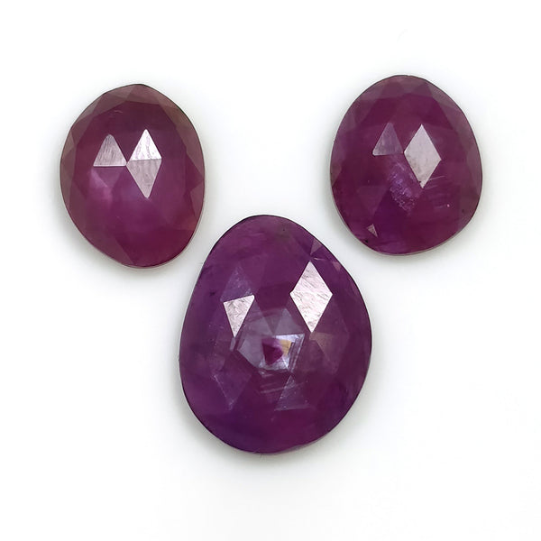 Raspberry Sheen PURPLE PINK SAPPHIRE Gemstone Cut September Birthstone : 12.00cts Natural Untreated Sapphire Uneven Shape Rose Cut 11*9mm - 14*11mm 3pc For Jewelry