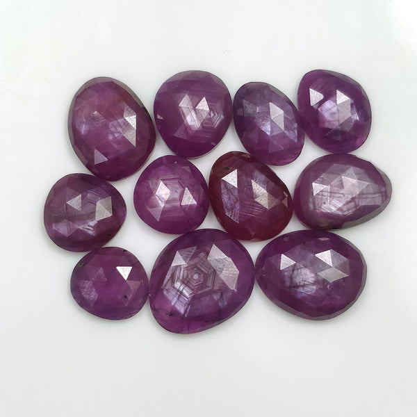 Raspberry Sheen PURPLE PINK SAPPHIRE Gemstone Cut September Birthstone : 71.50ct Natural Untreated Sapphire Uneven Rose Cut 11*10mm - 16*14mm 11pc Lot For Jewelry