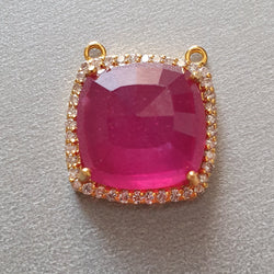 14K Gold Diamond Ruby Pendant 0.80