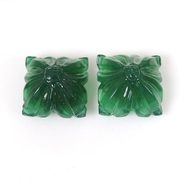 GREEN ONYX Gemstone Carving : 20.35cts Natural Onyx Gemstone Hand Carved Cushion Shape 13mm*9(h) Pair For Earring