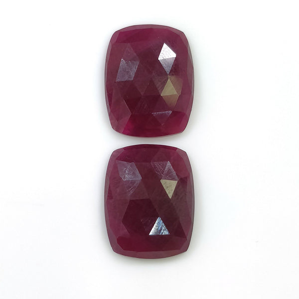 RED RUBY Gemstone Cut : 19.20cts Natural Untreated Ruby Gemstone Rose Cut Cushion Shape 16*13mm Pair For Jewelry