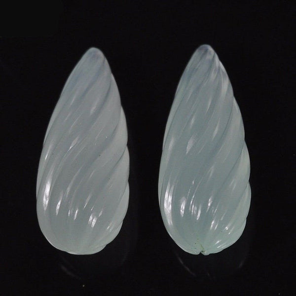 ONYX Gemstone Carving : 45.10cts Natural Color Enhanced Onyx Gemstone Hand Carved Tear Drop 29*12mm Pair For Earring