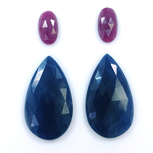 BLUE SAPPHIRE & Red RUBY Gemstone Cut : 60.10cts Natural Untreated Sapphire Rose Cut Pear Oval Shapes 13*8mm - 31*18mm 4pcs Set For Jewelry