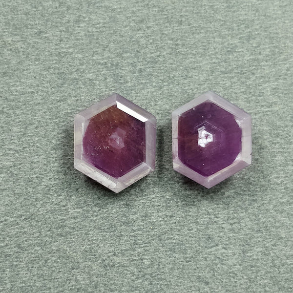 Raspberry Sheen PINK SAPPHIRE Gemstone Cut September Birthstone : 7.70cts Natural Untreated Sapphire Hexagon Shape Normal Cut 12*10mm Pair For Jewelry