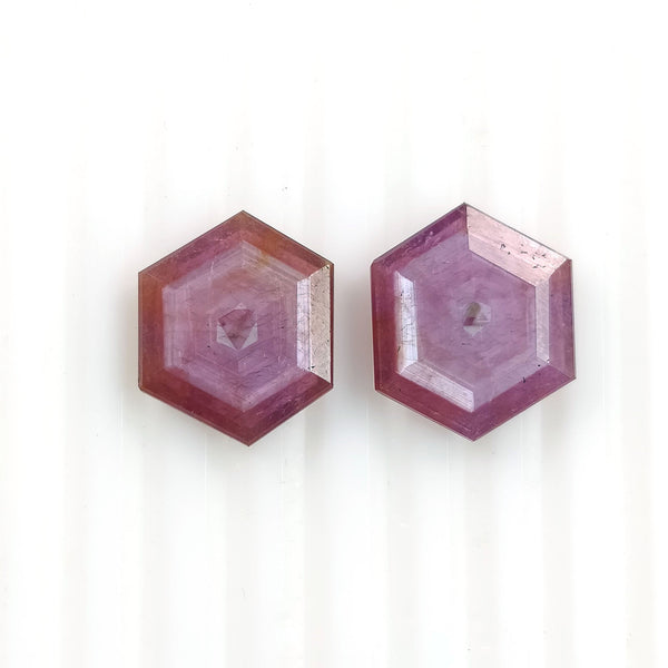 Raspberry Sheen PINK SAPPHIRE Gemstone Cut September Birthstone : 14.65cts Natural Untreated Sapphire Hexagon Shape Normal Cut 16*13mm Pair For Jewelry