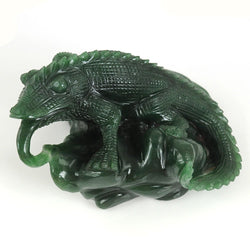 Gemstone Sculpture Aventurine : Limited Original Green Aventurine Quartzite Wild Chameleon Figurine Sculpture Hand Carved