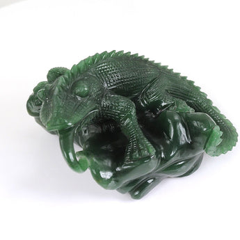 Limited Original Green Aventurine quartzite Wild Chameleon Figurine Sculpture