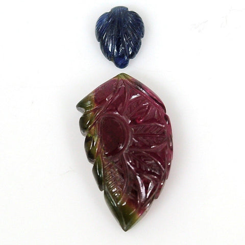 14.20cts 100% Natural Tourmaline,Blue Sapphire Gemstone Leaf Shape Hand Carved 7*9,13*23mm For Pendant 101/8