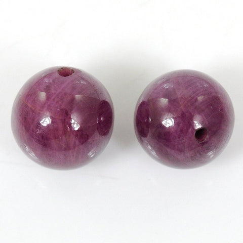 14mm Ruby Gemstone Round 100% Natural Cabochon Balls Drilled 56.30cts For Earrings
