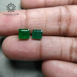 2.72cts Natural Untreated GREEN COLOMBIAN EMERALD Gemstone Normal Cut Baguette Shape 5.8*5.4mm - 6.4*5.6mm 2pcs For Jewelry