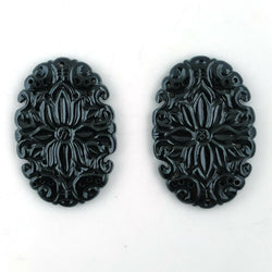66.00cts Natural BLACK ONYX Gemstone Hand Carved Oval Shape 41*27mm Pair For Jewelry