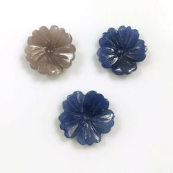 16.00cts Natural Untreated MULTI SAPPHIRE Gemstone Hand Carved Round FLOWER 14mm - 15.5mm 3pcs For Jewelry