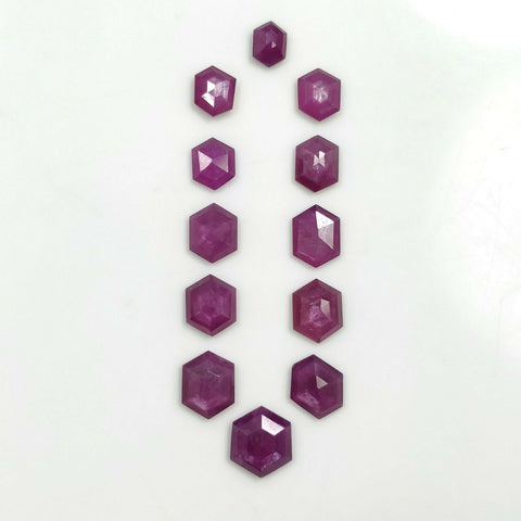 24.75cts Natural Untreated Raspberry Sheen PURPLE PINK SAPPHIRE Gemstone September Birthstone Hexagon Shape Step Cut 7*5mm - 11*9mm 12pcs Lot For Jewelry