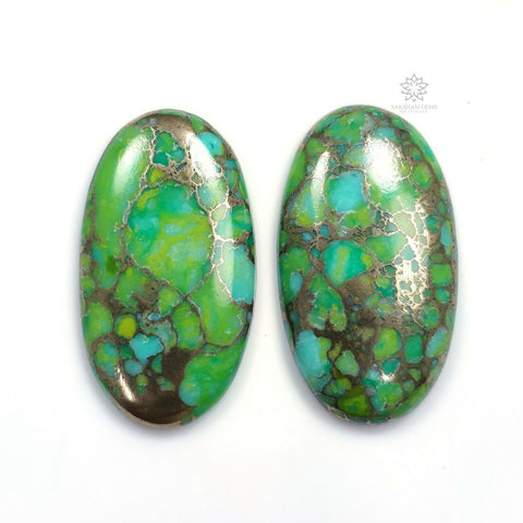 64.10cts GREEN Copper TURQUOISE Gemstone Oval Shape Cabochon 35*20mm - 36.5*20mm 2pcs For Jewelry
