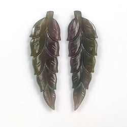 19.50cts Natural Untreated MULTI SAPPHIRE Gemstone Hand Carved Indian Leaf 38.5*12mm Pair For Earring