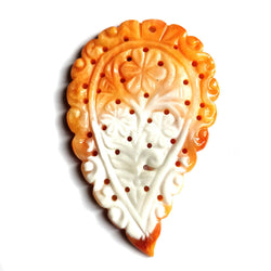 54.00cts Natural Untreated Orange White MOTHER OF PEARL Gemstone Hand Carved LEAF 56*36mm 1pc For Pendant