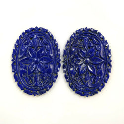 62.00cts Natural Blue LAPIS LAZULI Gemstone Hand Carved Oval Shape 43*31mm Pair For Jewelry