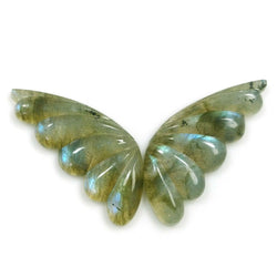 23.85cts Natural Untreated LABRADORITE Gemstone Hand Carved BUTTERFLY 32*13mm Pair For Earring