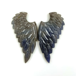 45.50cts Natural Untreated MULTI SAPPHIRE Gemstone Hand Carved Angel Wings 38*18mm Pair For Jewelry