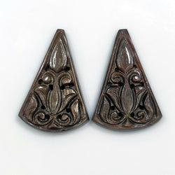 45.50cts Natural Untreated Golden Brown CHOCOLATE SAPPHIRE Gemstone Triangle Shape Hand Carved 30*20.5mm Pair For Jewelry