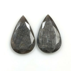 20.10cts Natural Untreated SILVER SAPPHIRE Gemstone Pear Shape Normal Cut 22.5*14mm Pair For Earring