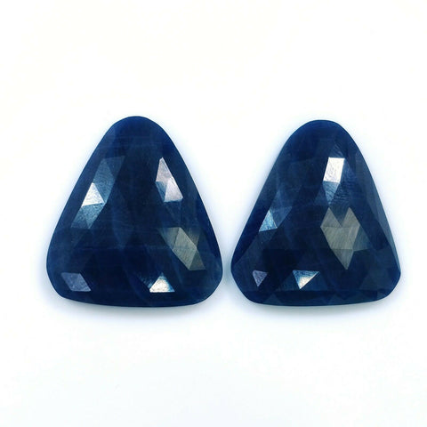 68.50cts Natural Untreated BLUE SAPPHIRE Gemstone Uneven Shape Rose Cut 27*24mm Pair For Earring