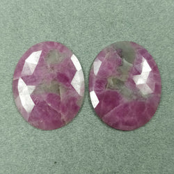 59.00cts Natural Untreated PINK SAPPHIRE Gemstone Oval Shape Rose Cut 34*27mm Pair For Jewelry