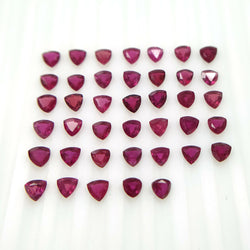 8.72cts Natural RUBY Gemstone Trillion Shape Normal Cut 3.5mm 40pcs For Jewelry
