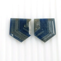 27.40cts Natural Untreated BLUE SHEEN SAPPHIRE Gemstone Uneven Shape Normal Cut 20*18mm Pair For Earring