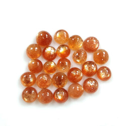 6.75cts Natural Untreated Chatoyant ORANGE SUNSTONE Gemstone Round Shape Cabochon 4mm 23pcs Lot For Jewelry