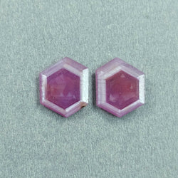 10.30cts Natural Untreated Raspberry Sheen PINK SAPPHIRE Gemstone September Birthstone Hexagon Shape Normal Cut 14.5*11.5mm Pair For Earring