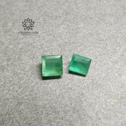 2.02cts Natural Untreated GREEN COLOMBIAN EMERALD Gemstone Normal Cut Baguette Shape 5.4*4.8mm - 5.6mm 2pcs For Jewelry