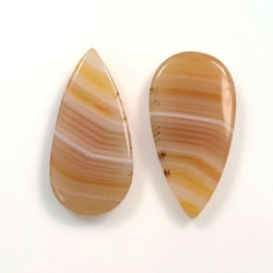 13.90ct Natural Untreated BOTSWANA STRIPED AGATE Gemstone Pear Shape Cabochon 22*12mm*3.5(h) Pair For Earring