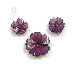 11.00cts Natural Untreated Pink VIOLET SAPPHIRE Gemstone Hand Carved FLOWER 10mm - 14mm 3pcs Set For Jewelry