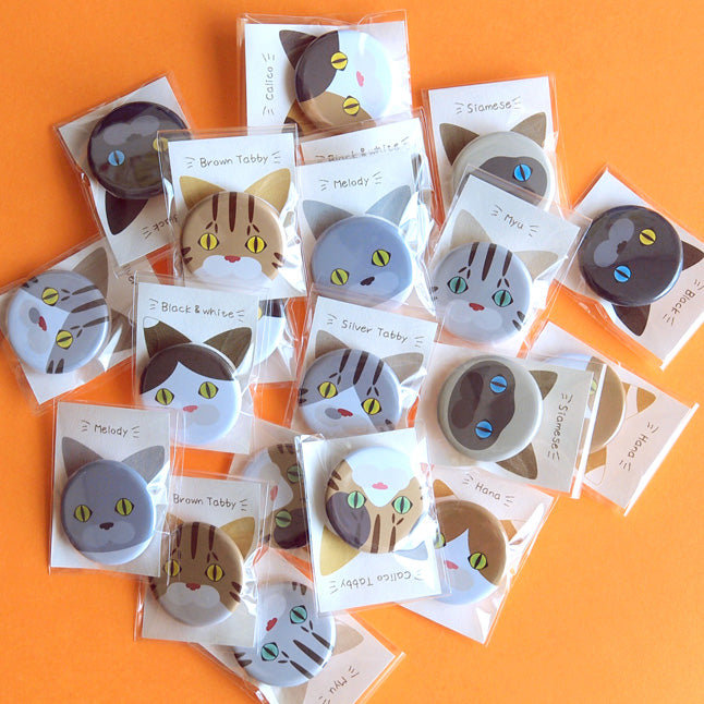 Cat Face Pin Buttons Collection