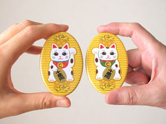 Japanese Lucky Cat, Maneki-neko pin buttons-Catchy_boutique