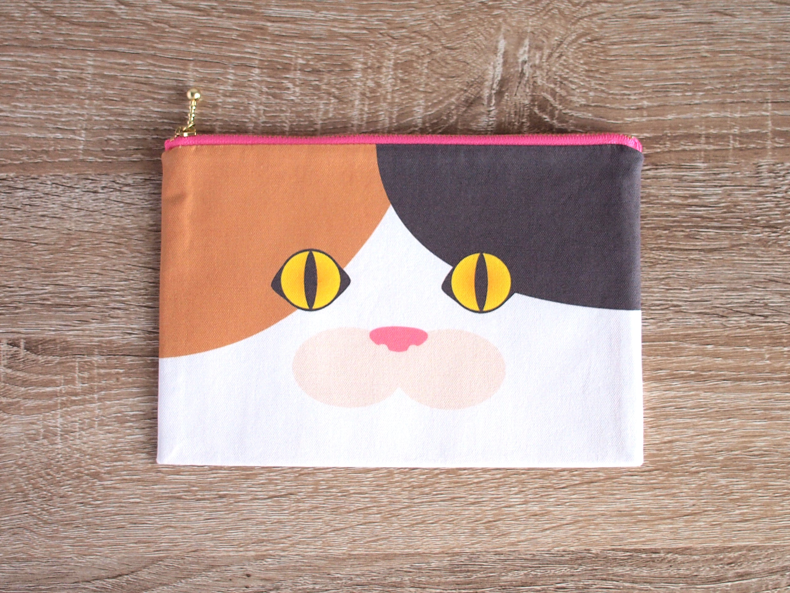 Calico Cat Face Zipper Pouch