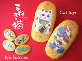 Japanese Lucky Cat, Maneki-neko pin buttons