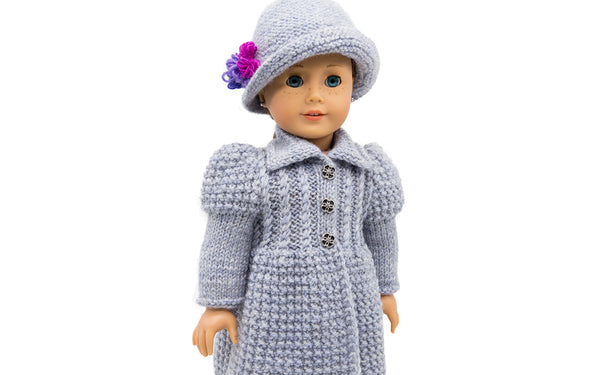 Lady in Grey coat and hat for American Girl Dolls