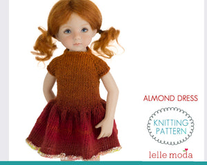 Almond dress 13 inch  for Little Darling doll clothes pattern