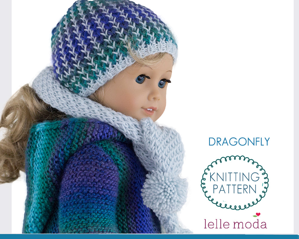 Dragonfly Winter Hat and Scarf for 18 inch Dolls