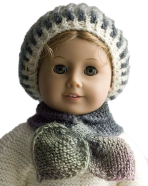 Winter Butterfly Hat and Scarf for 18 inch Dolls