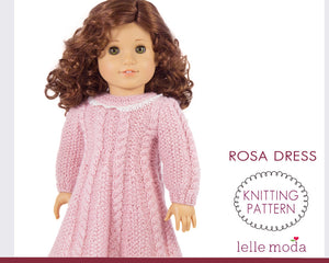 Rosa cable dress pattern  for American Girl doll