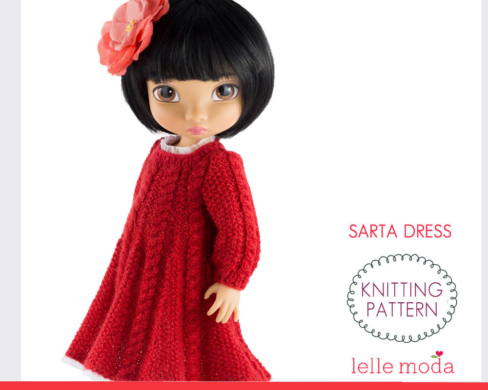 Red cable dress knitting pattern  for Disney Animators dolls